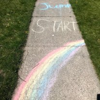 Rainbow Sidewalk Chalk Art