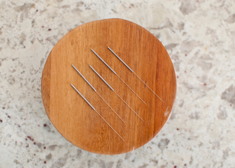 Acupuncture needles on round lid